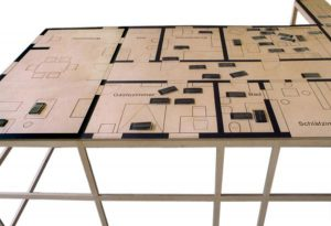 The Mustermann Family - Trauma of an Unattached Artist, © 2001-2003, Ground plan, 1:10, approx.: 90 x 220 x 240 cm, ink on 15 mm plywood, flip-books