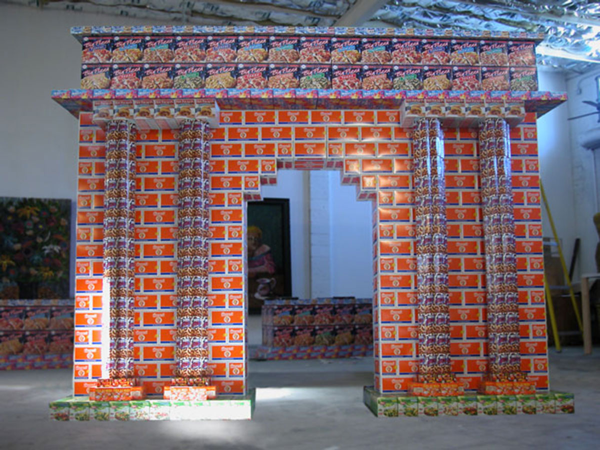 Triumph Arch, © 2004, Empty food packages, 350 x 400 x 120 cm