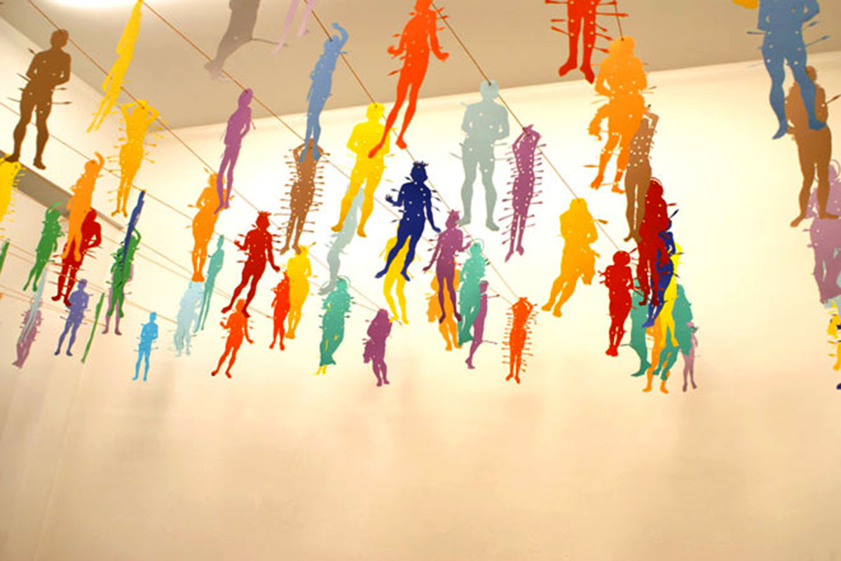 Con penas ni gloria, © 2008 Perforated color cardboard silhouettes from old-master paintings of Saint Sebastian, confetti in the same size and color as the perforations, dimension variable