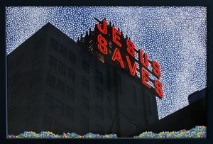 Jesus Saves, © 2010, Perforated c-print, confetti, 70 x 100 cm