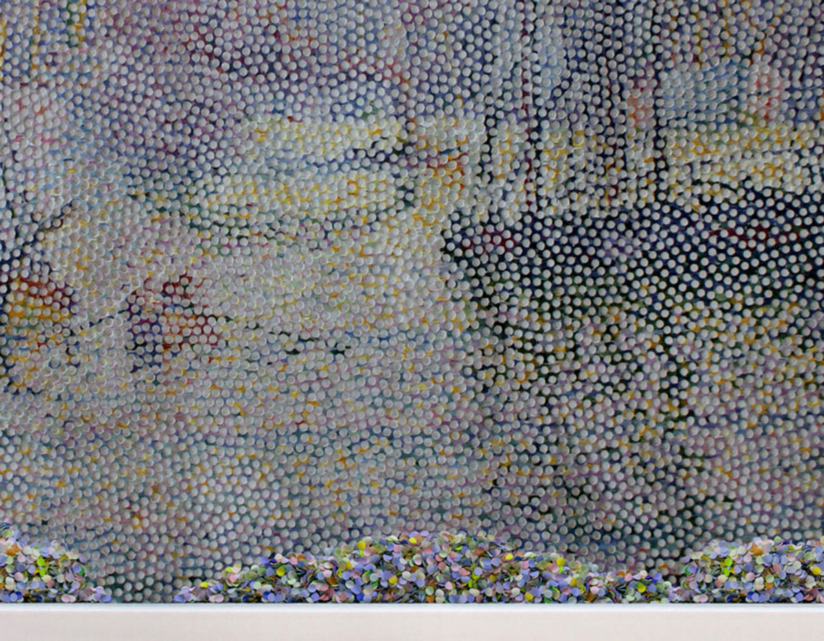Notre Dame de la Garde (La Bonne Mere), after Paul Signac, © 2011, Perforated c-print, loose confetti in the colors of the image, 95 x 122 cm