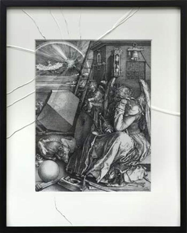 Elegy, © 2017, print on fabric, fishing line, lead balls, epoxy, acrylic,  300 x 550 x 280 cm
