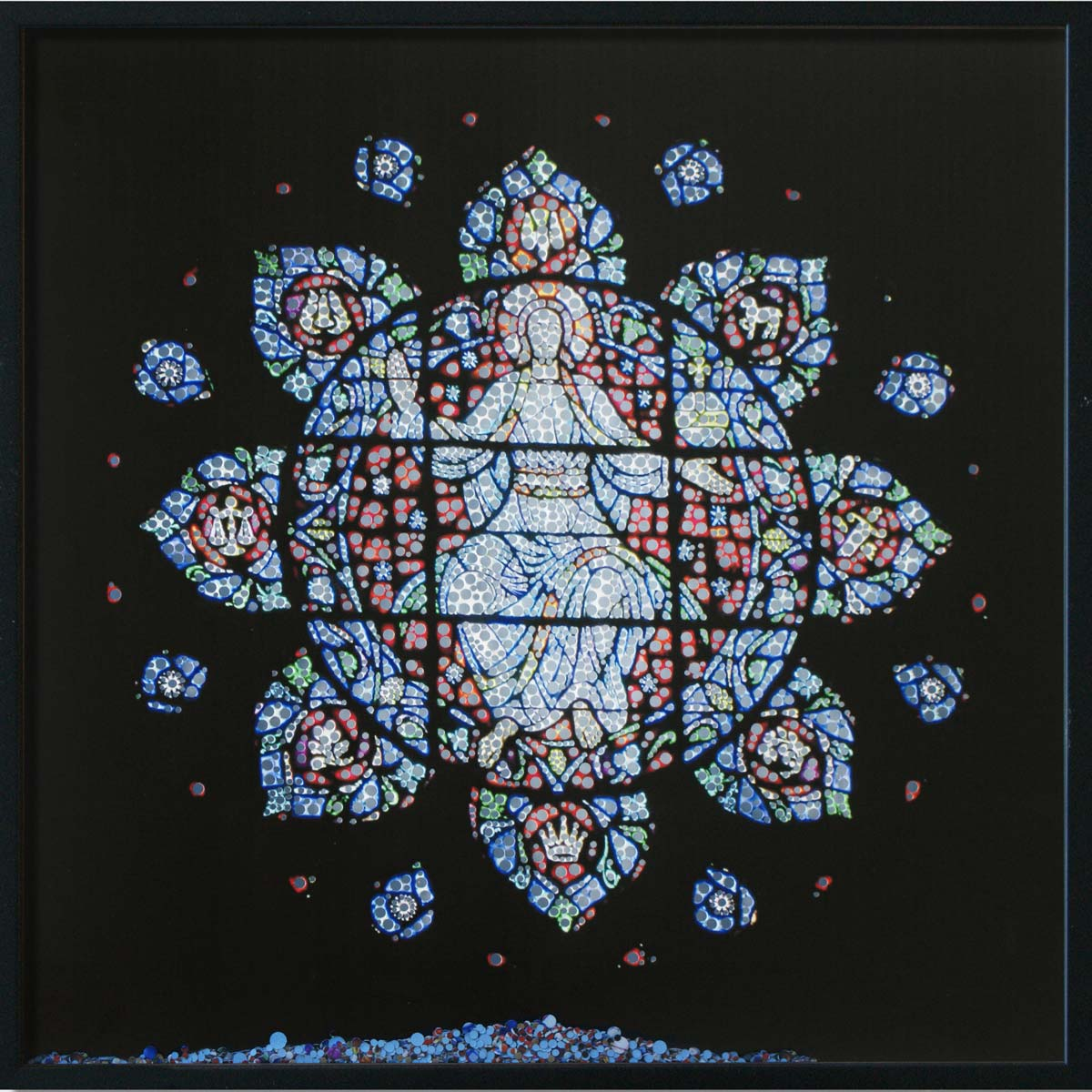 Revelation, Marsch Chapel Boston, © 2011, Perforated inkjet print, loose confetti produced by the perforation process, each 50 x 50 cm