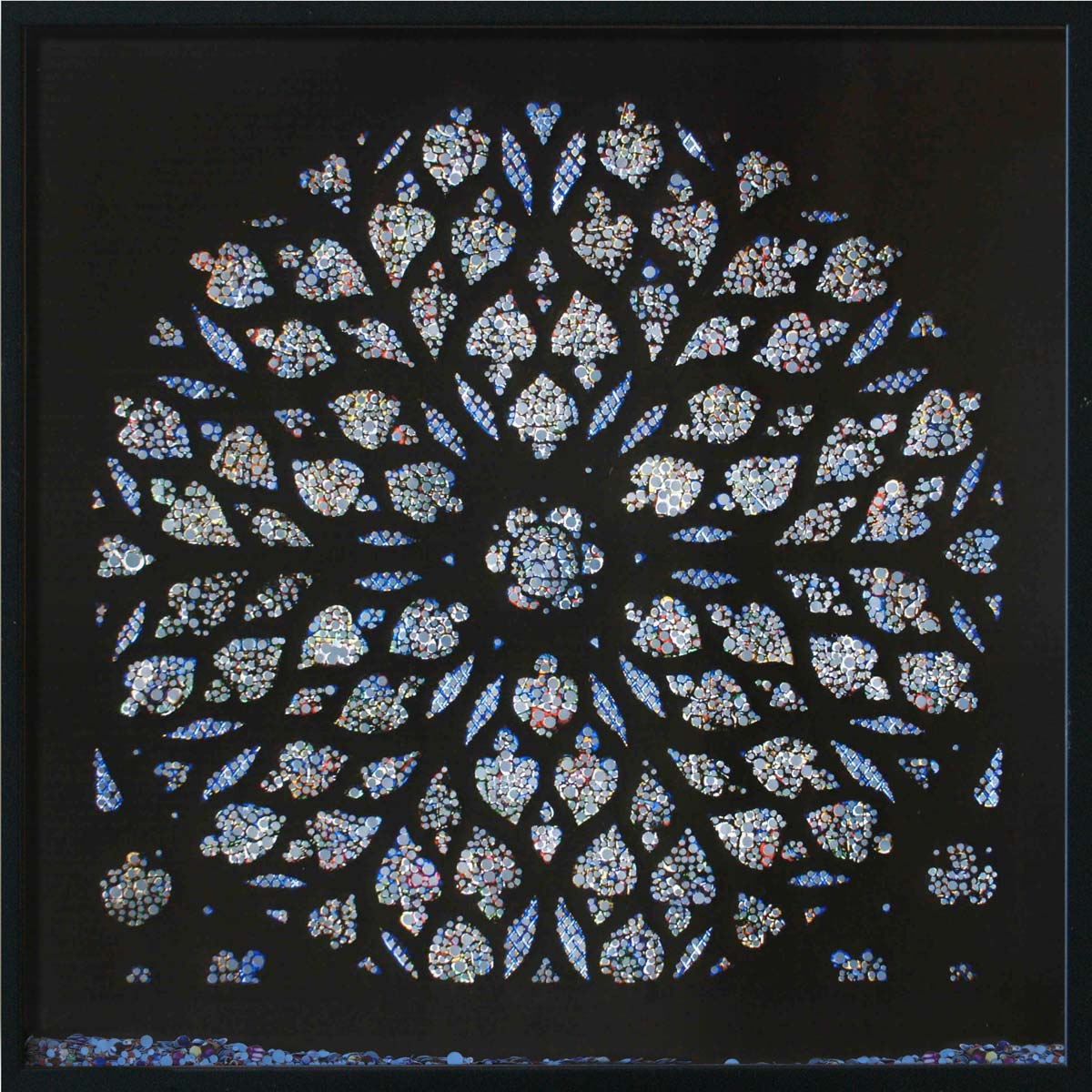Revelation, Sainte Chapelle Paris, © 2011, Perforated inkjet print, loose confetti produced by the perforation process, each 50 x 50 cm