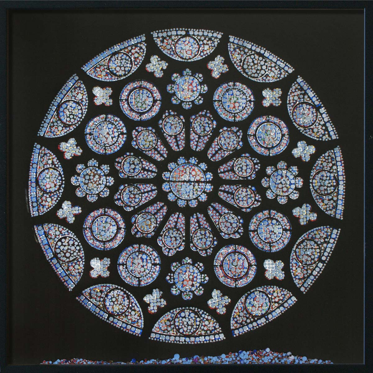 Revelation, Cathédrale Notre-Dame de Chartres, © 2011, Perforated inkjet print, loose confetti produced by the perforation process, each 50 x 50 cm
