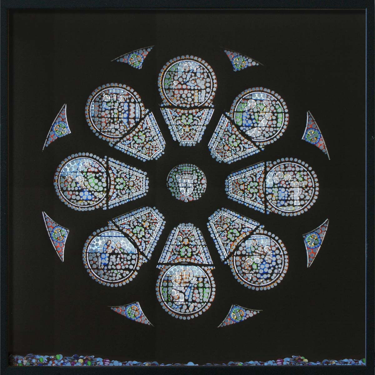 Revelation, Cathédrale Saint-Front, © 2011, Perforated inkjet print, loose confetti produced by the perforation process, each 50 x 50 cm