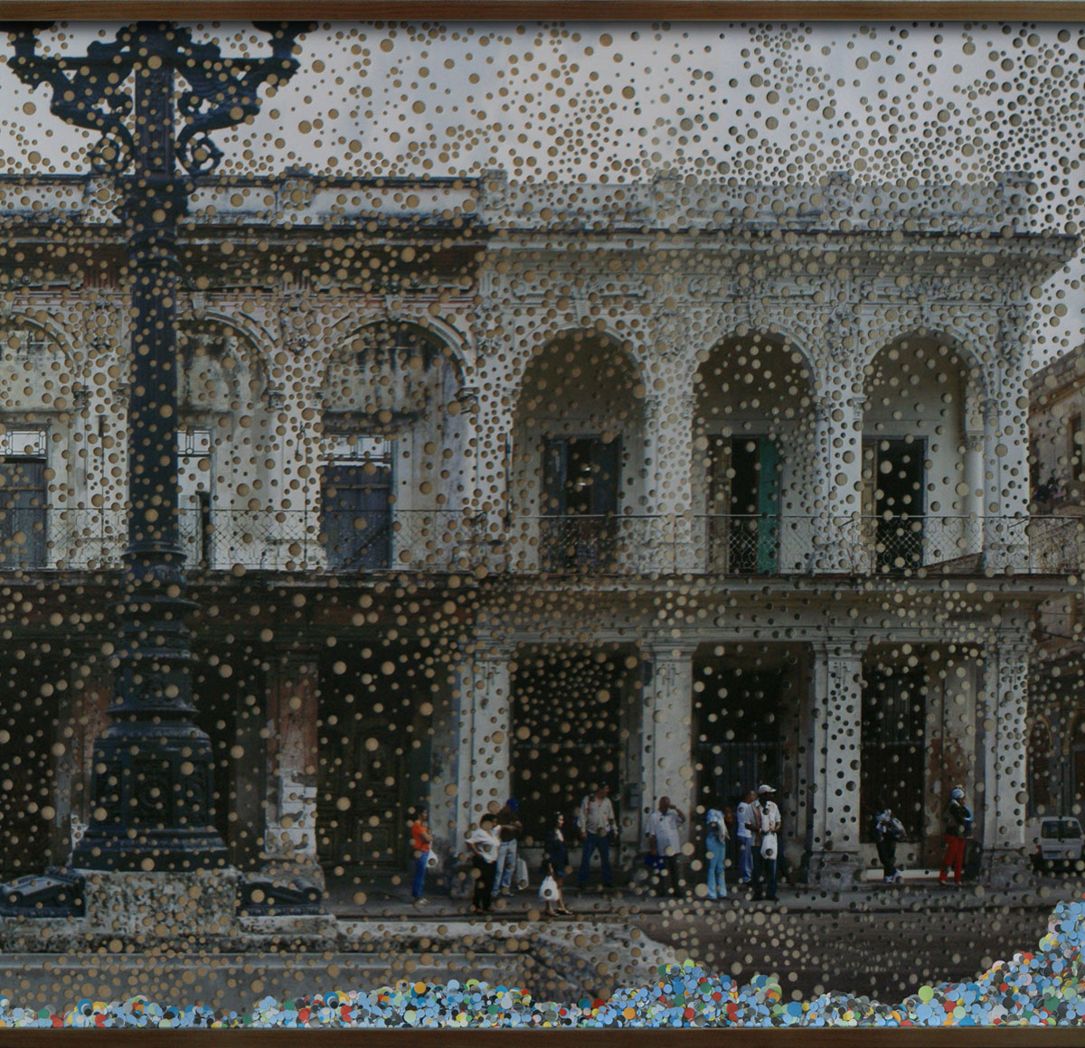 Havana, 50th Anniversary of the Revolution, Detail © 2009, Perforated inkjet print, loose confetti produced by the perforation process, and colored confetti, 84 x 306 cm
