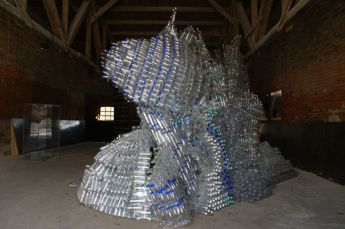 The House of the Atlanteans (after Hermann Finsterlin), © 2010, PET water bottles, plastic bottle caps, books on utopias, etc., Approx. 450 x 350 x 330 cm