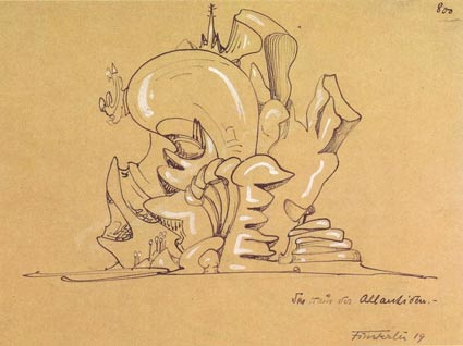 The House of the Atlanteans, Hermann Finsterlin,  © 1919, drawing