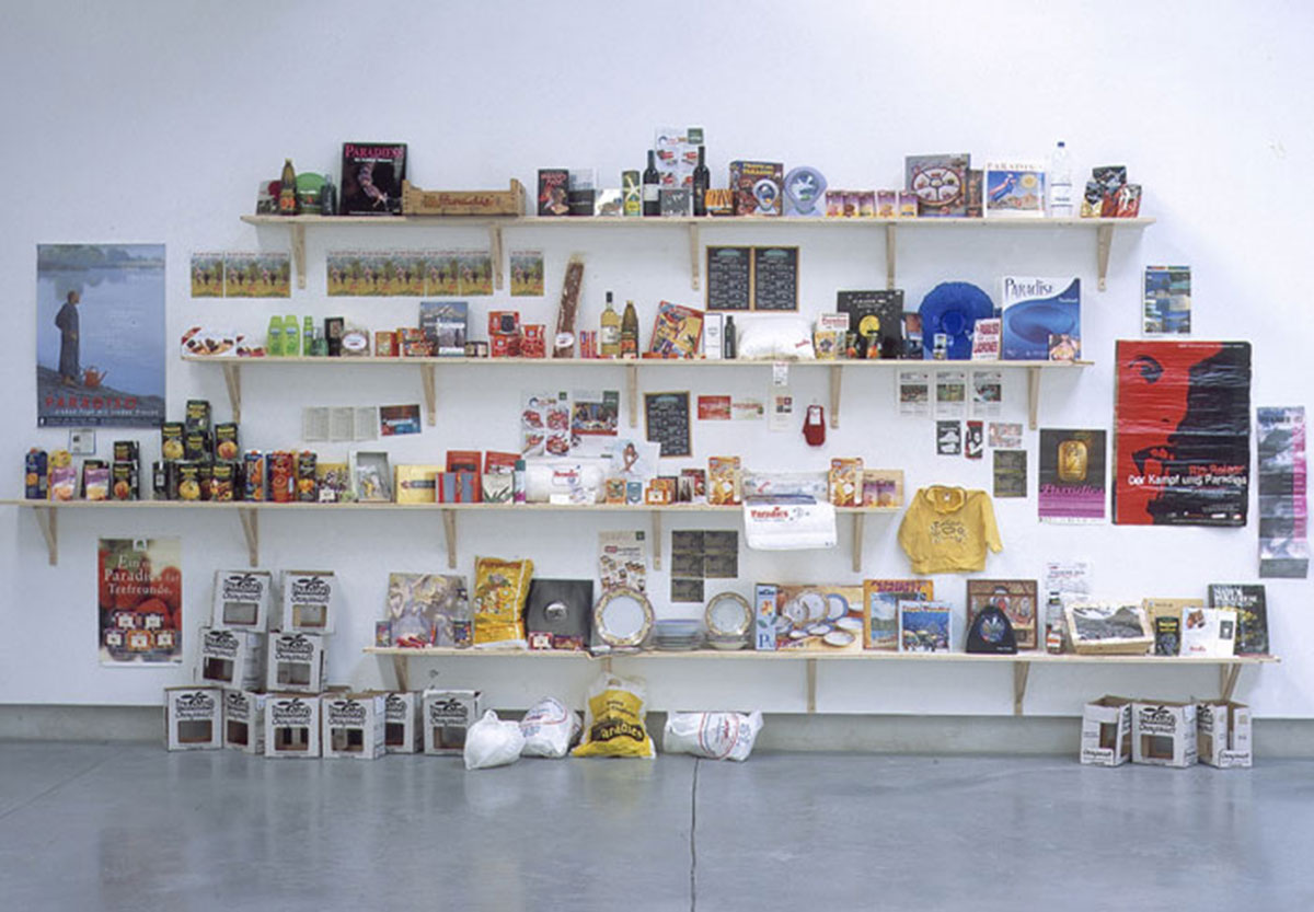 "Paradise, © 1998-2004, Objects installation, different products in which is used the word ""paradise"", variable size"