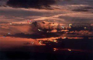 Cae la noche, © 2006, Collage on photography, 32 x 45 cm