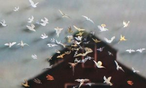 The Birds II, © 2010, Images of the Holy Spirit taken from old-master paintings and engravings, pinned onto a c-print: still from the Alfred Hitchcock film The Birds, inkjet print, Diptych, each picture 88 x 140 cm