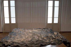 The Flood, © 2015, print on fabric, fishing lines, 300 x 300 x 300 cm