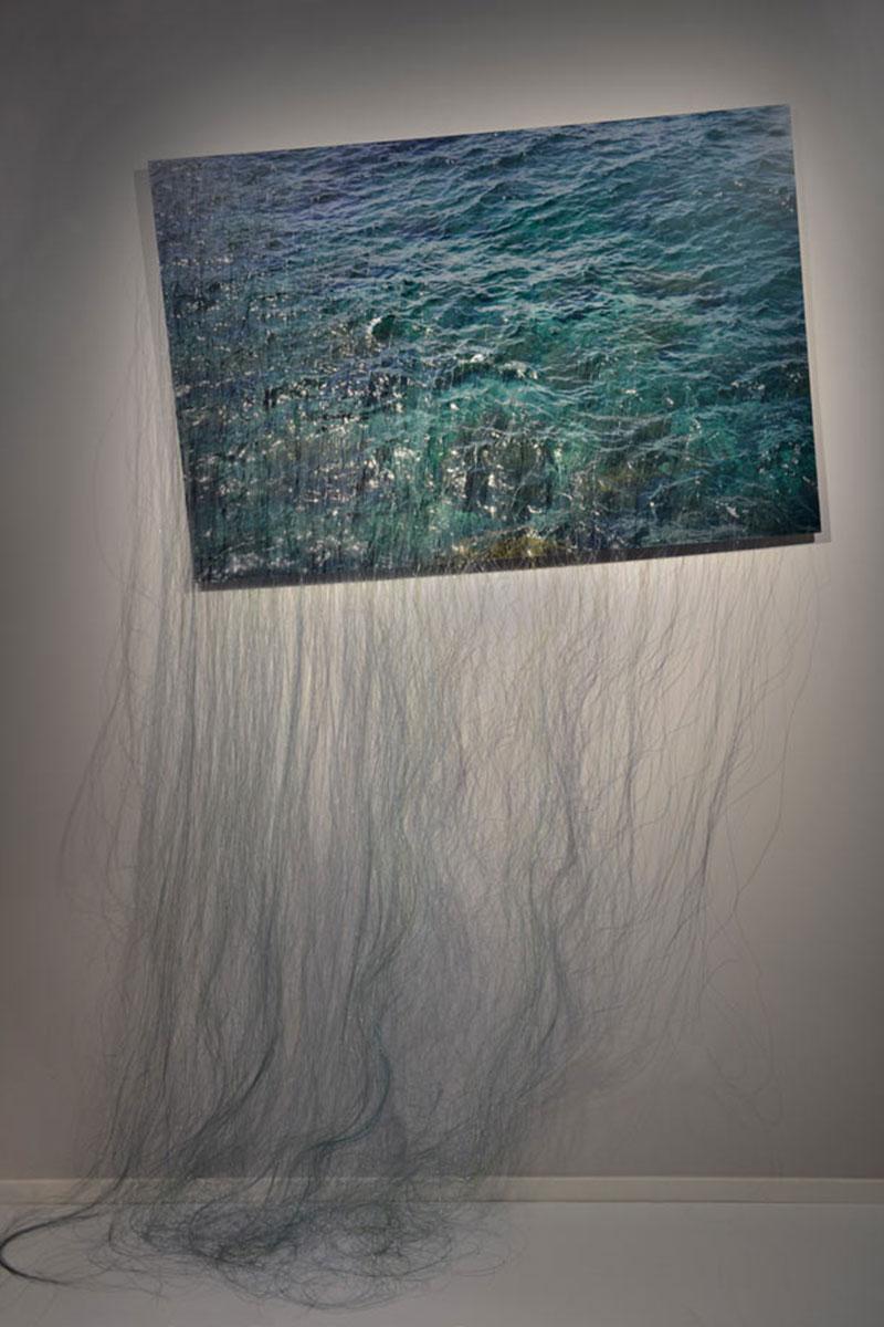 Waterfall, © 2017, Diasec, fishing lines, Approx. 200 x 130 cm
