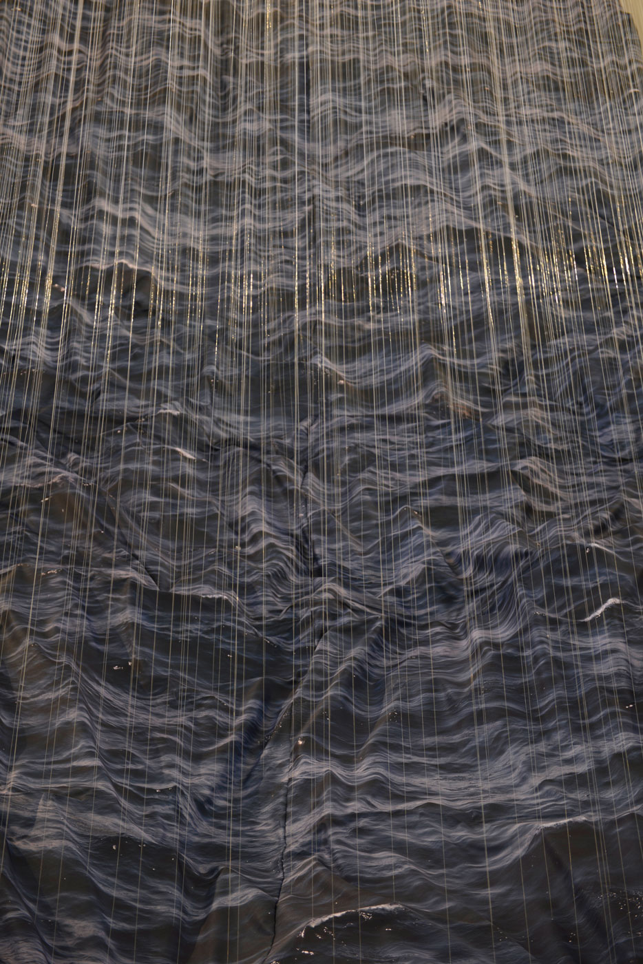 De Profundis, © 2018, print on fabric, fishing line, lead balls, 900 x 800 x 400 cm