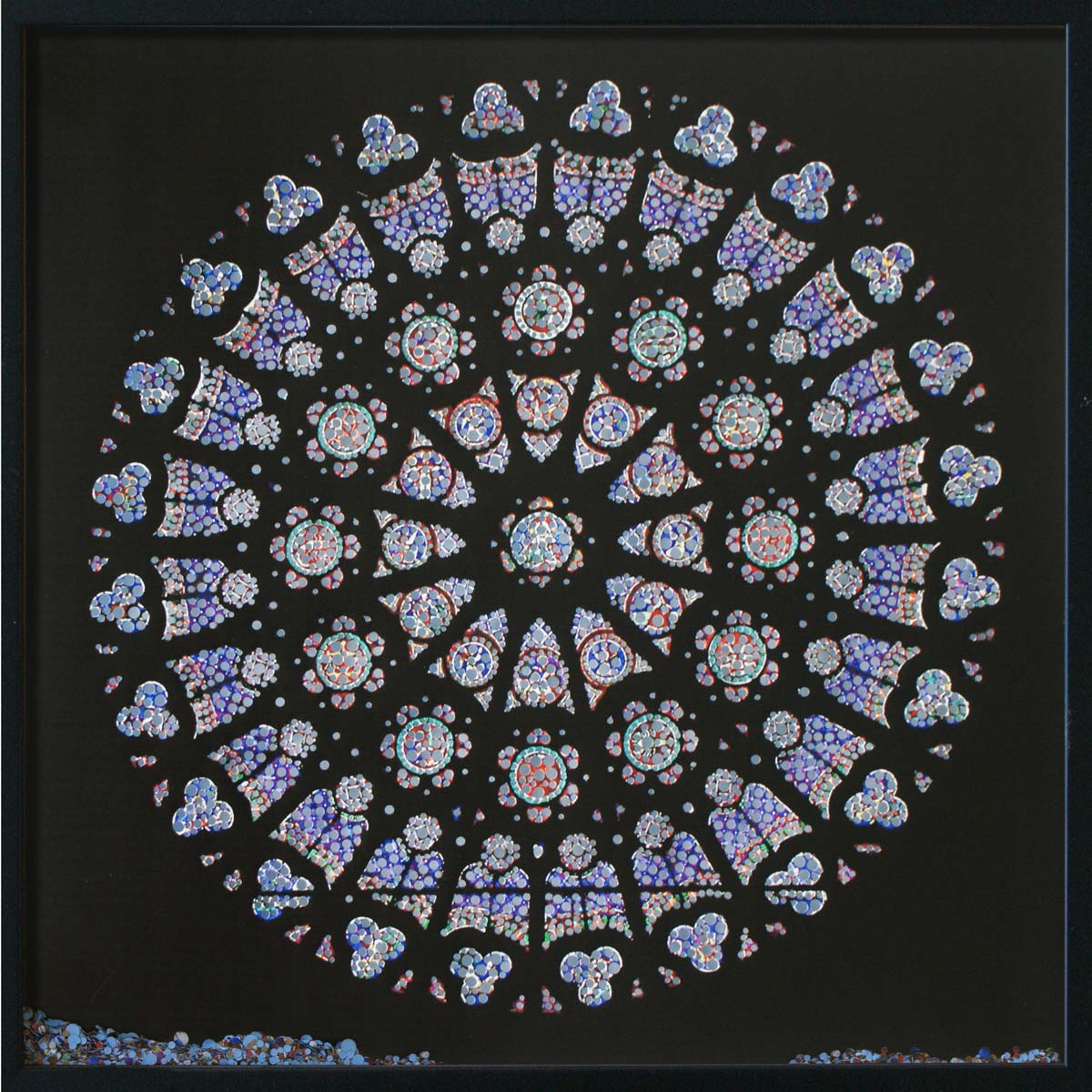 Revelation, Cathédrale de Saint-Denis, © 2011, Perforated inkjet print, loose confetti produced by the perforation process, each 50 x 50 cm