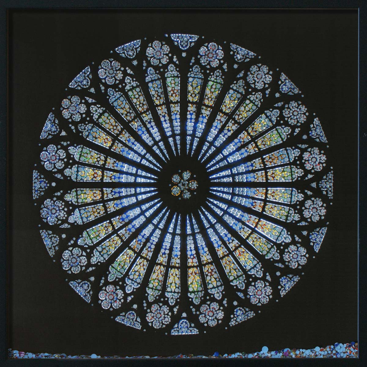 Revelation, Cathédrale Notre-Dame de Strasburg, © 2011, Perforated inkjet print, loose confetti produced by the perforation process, each 50 x 50 cm