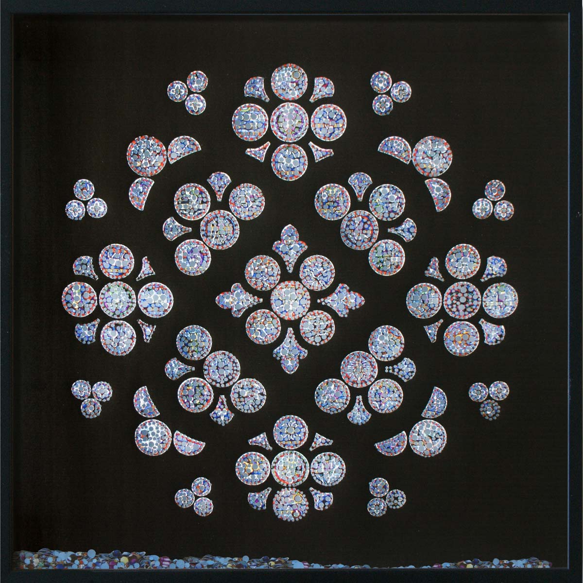 Revelation, Cathédrale Notre-Dame de Lausanne, © 2011, Perforated inkjet print, loose confetti produced by the perforation process, each 50 x 50 cm