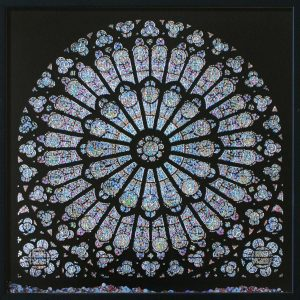 Revelation, Cathédrale Notre-Dame de Paris, © 2011, Perforated inkjet print, loose confetti produced by the perforation process, each 50 x 50 cm