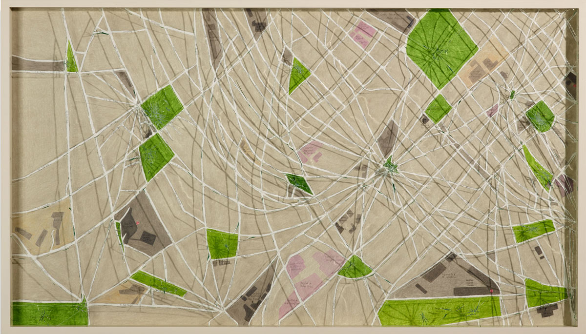 City of Shadows, © 2014, Colored pencil on paper framed with shattered safety glass, 56 x 98 cm