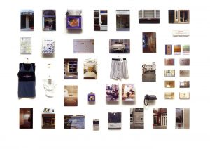"Conceptual art, © 2001, Compilation of products and shops called ""concept"", approx. 200 x 300 cm"