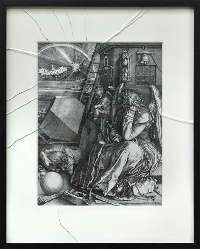 Melencolia I (after Albrecht Dürer) © 2017  Copy from the engraving Melancolia I, shattered safety glass, 42 x 28 cm