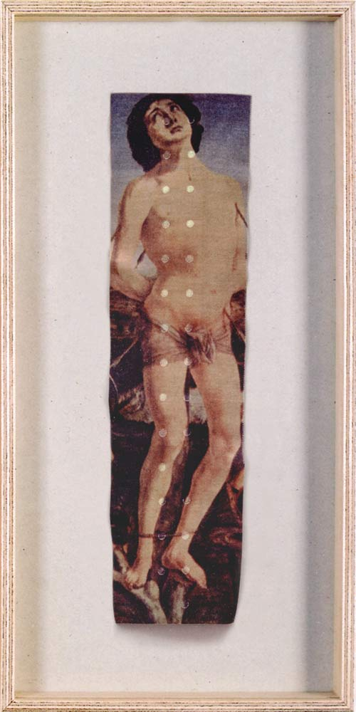 Saint Sebastian, © 1996-2001, Print on sticking plaster, series of 45 different pieces, each one 32 x 16,5 cm