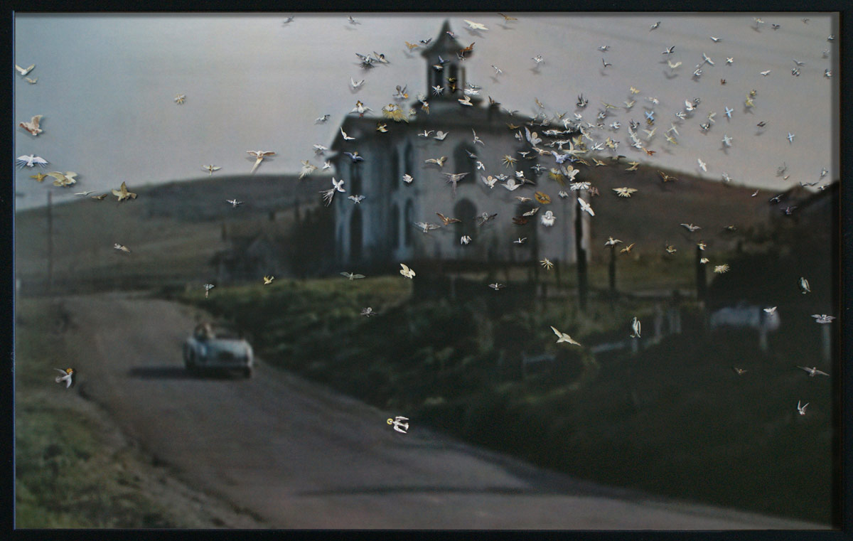 The Birds, © 2010, Images of the Holy Spirit taken from old-master paintings and engravings, pinned onto a c-print: still from the Alfred Hitchcock film The Birds, 100 x 160 cm
