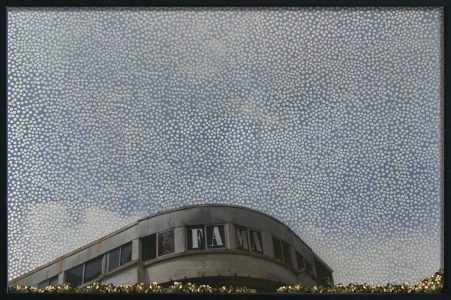 Fama, © 2011 Perforated c-print, loose gold confetti, 55 x 82 cm